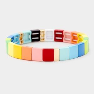RAINBOW ENAMEL METAL SQUARE TILE STRETCH BRACELET